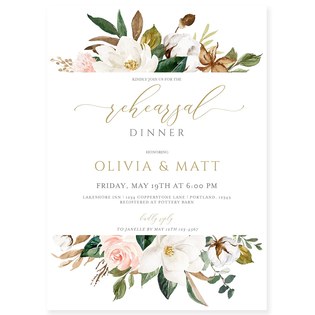 Floral Wedding Rehearsal Dinner Invitation | www.foreveryourprints.com