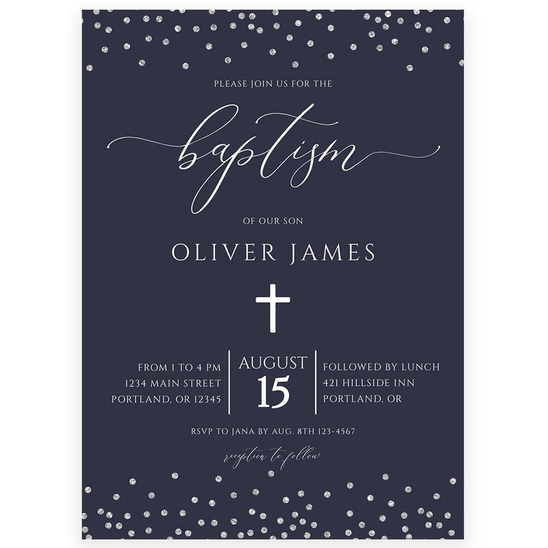 Navy and Silver Baptism Invitation | www.foreveryourprints.com