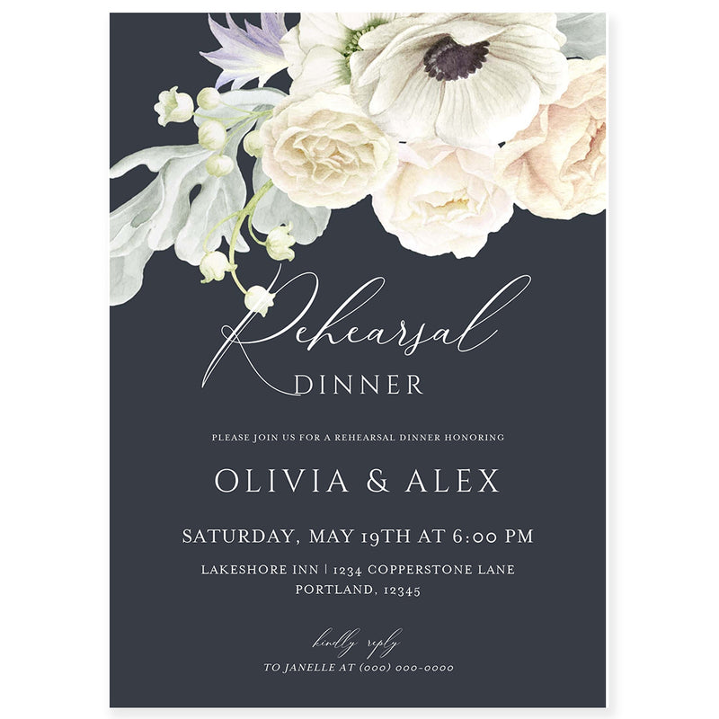 Navy Rehearsal Dinner Invitation | www.foreveryourprints.com