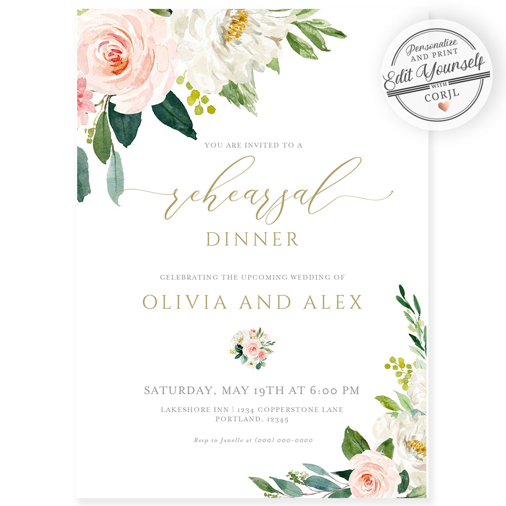 Wedding Rehearsal Dinner Invitation | www.foreveryourprints.com