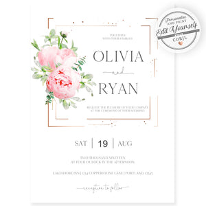 Floral Wedding Invitation | www.foreveryourprints.com