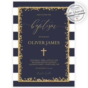 Navy and Gold Baptism Invitation | www.foreveryourprints.com