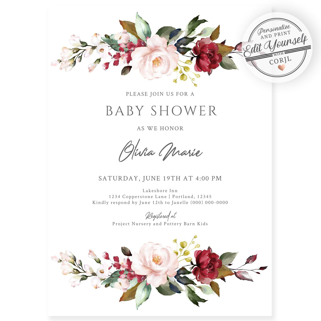 Burgundy Florals Baby Shower Invitation | www.foreveryourprints.com
