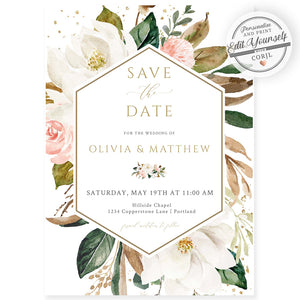 Magnolia Save The Date Invitation | www.foreveryourprints.com