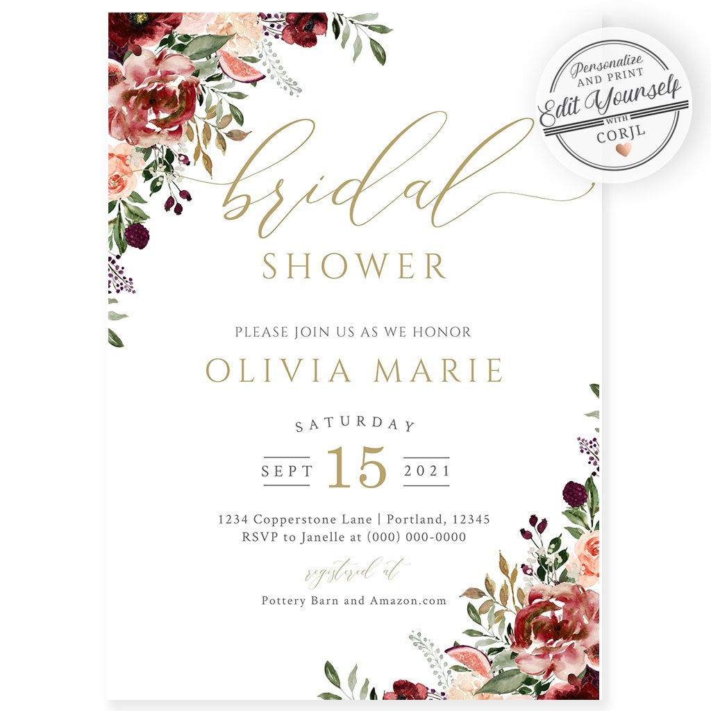 Fall Bridal Shower Invitation | www.foreveryourprints.com