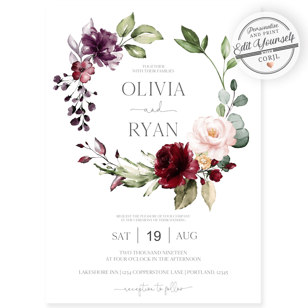 Places To Print Wedding Invitations: Burgundy Floral Wedding Invitation