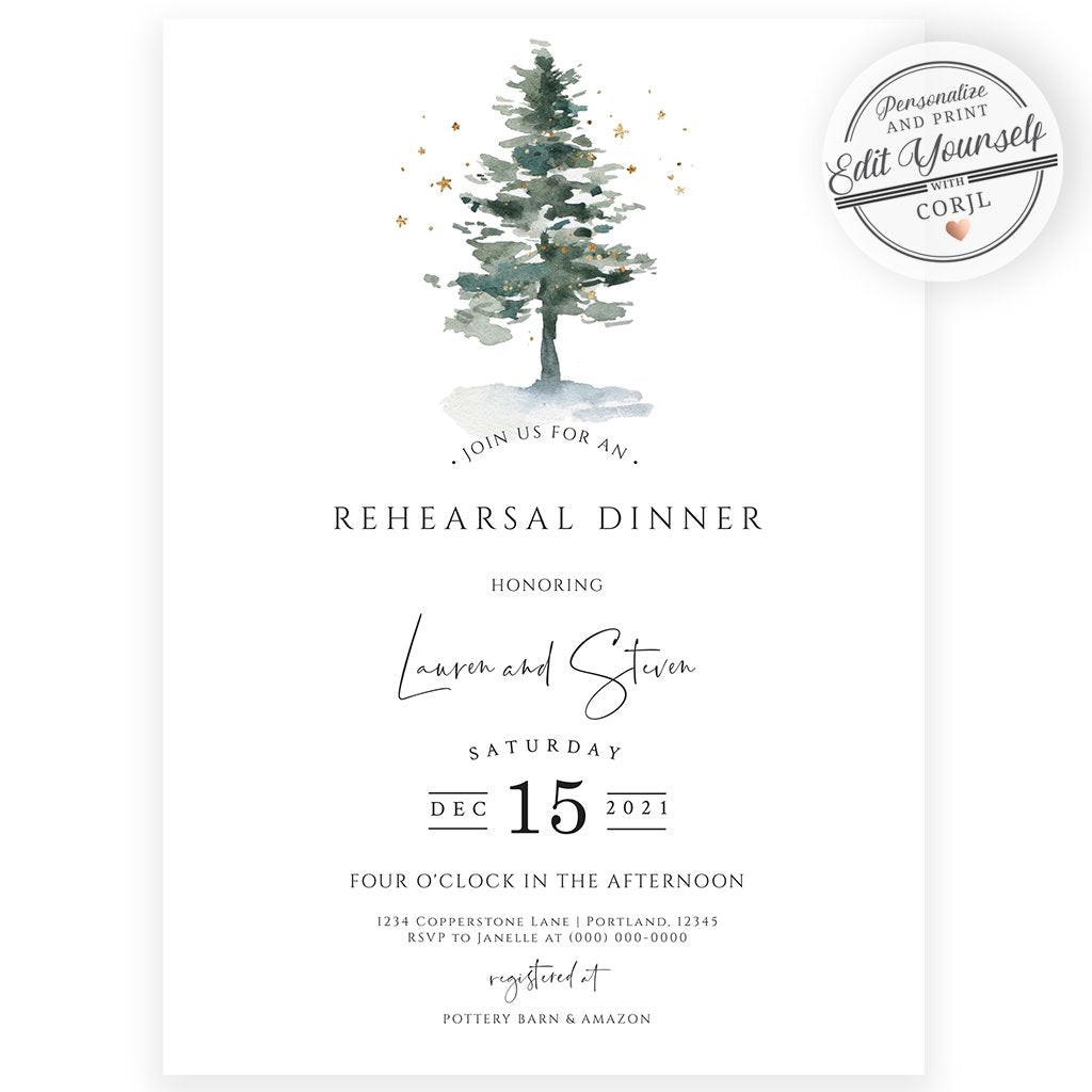 Evergreen Wedding Rehearsal Invitation | Forever Your Prints