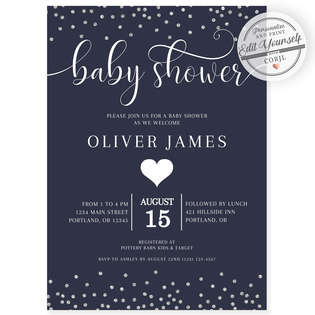 Confetti Baby Shower Invitation | www.foreveryourprints.com