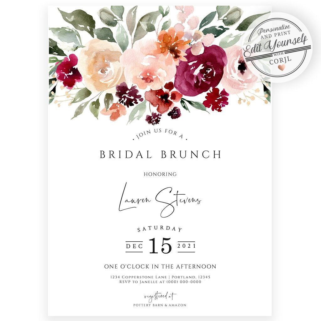 Floral Bridal Brunch Invitation | www.foreveryourprints.com