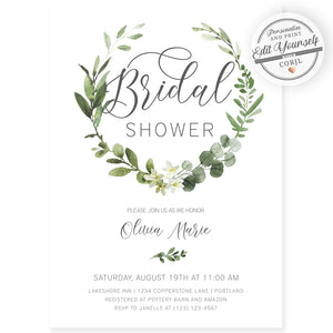 Greenery Bridal Shower Invitation | www.foreveryourprints.com