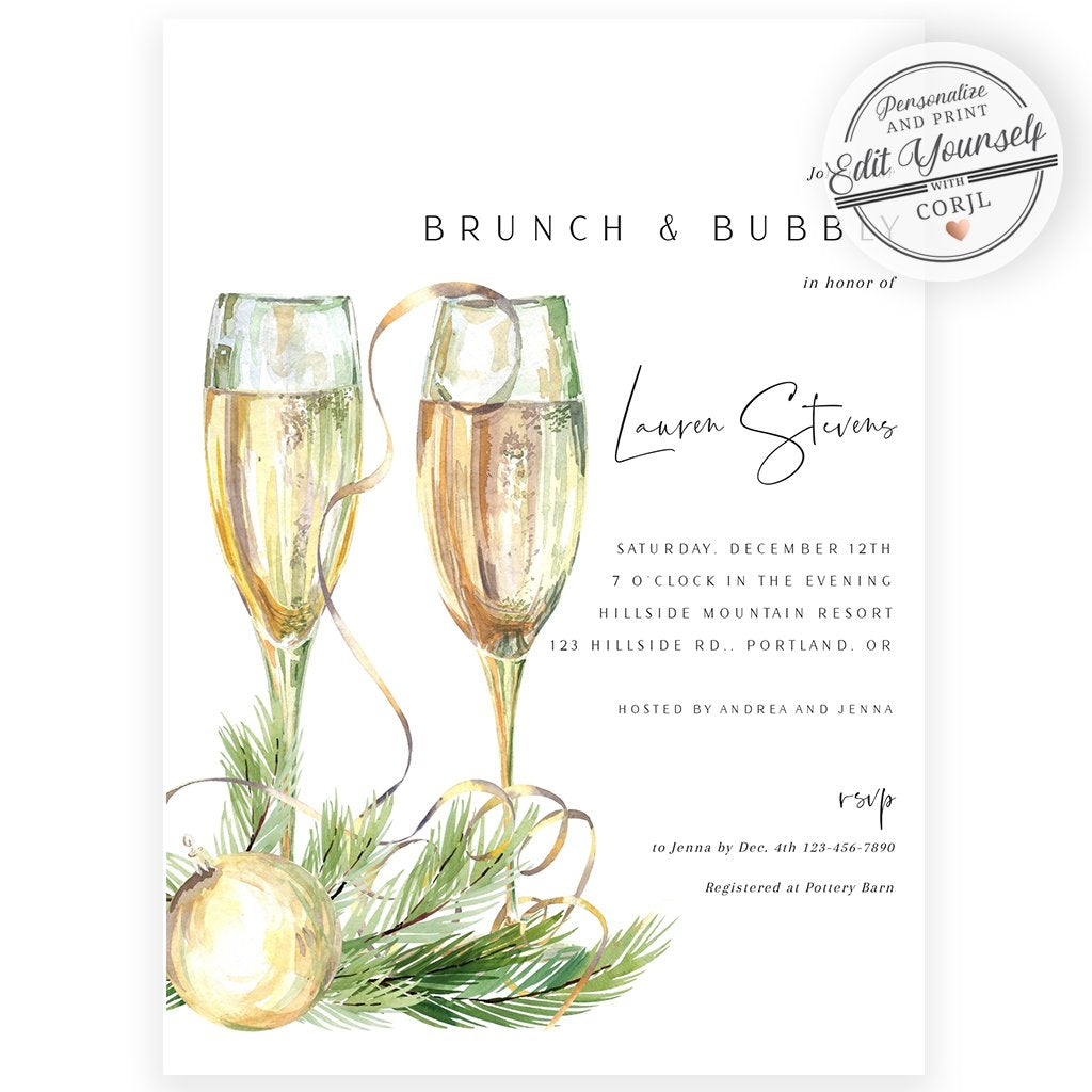 Brunch and Bubbly Bridal Invitation | www.foreveryourprints.com