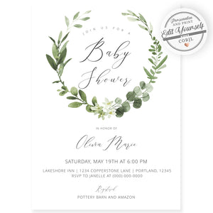 Eucalyptus Baby Shower Invitation | www.foreveryourprints.com