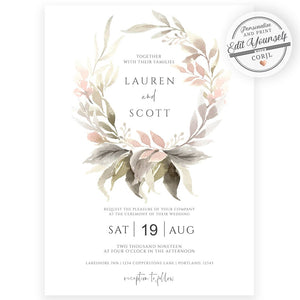 Boho Floral Wedding Invitation | www.foreveryourprints.com