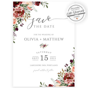 Fall Save The Date Invitation | www.foreveryourprints.com