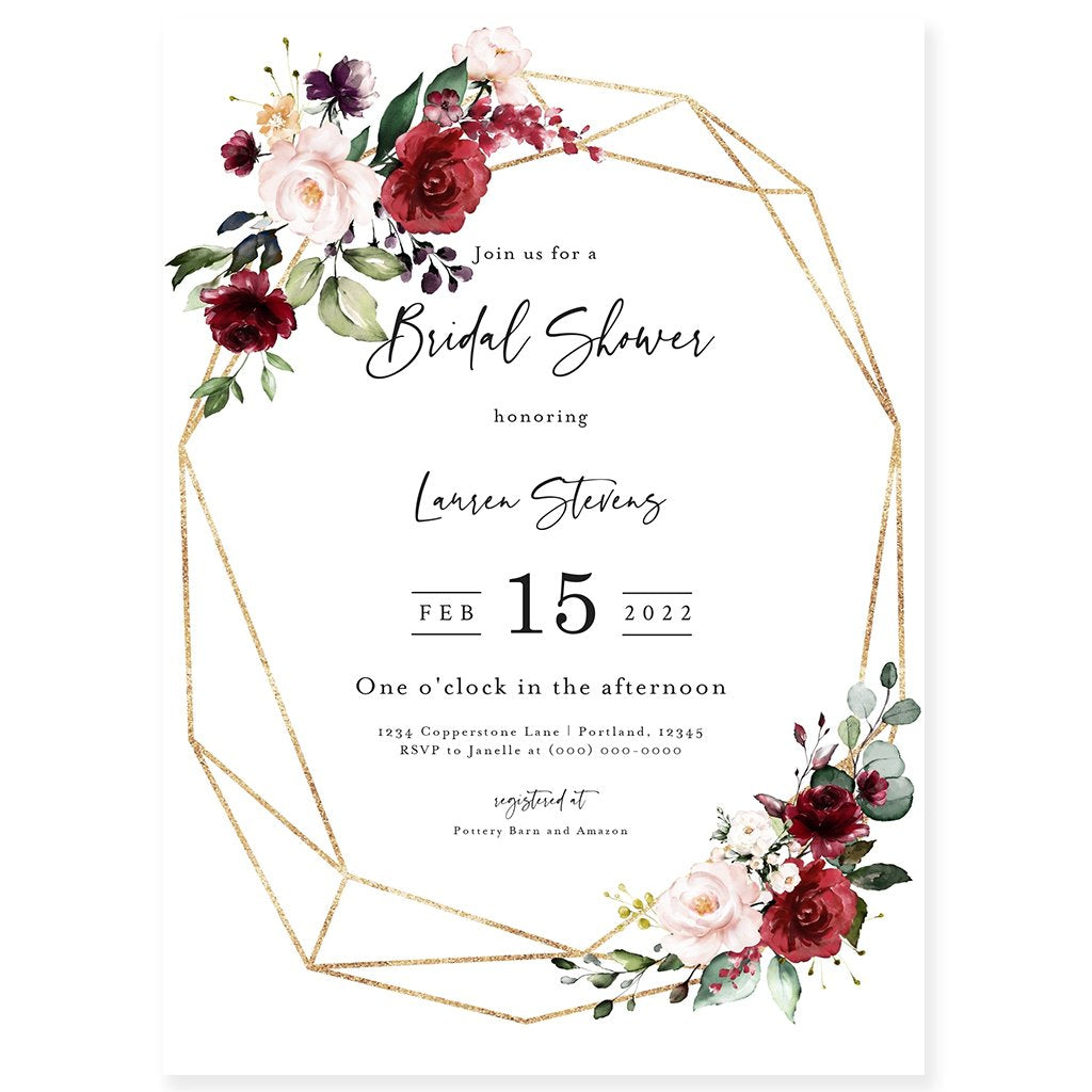 Burgundy Bridal Shower Invitation | www.foreveryourprints.com