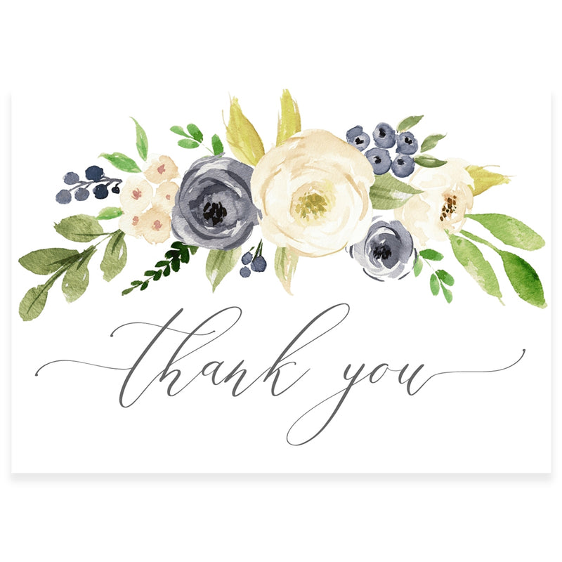 Blue Floral Thank You Card | www.foreveryourprints.com