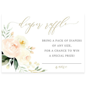 Floral Diaper Raffle Card | www.foreveryourprints.com