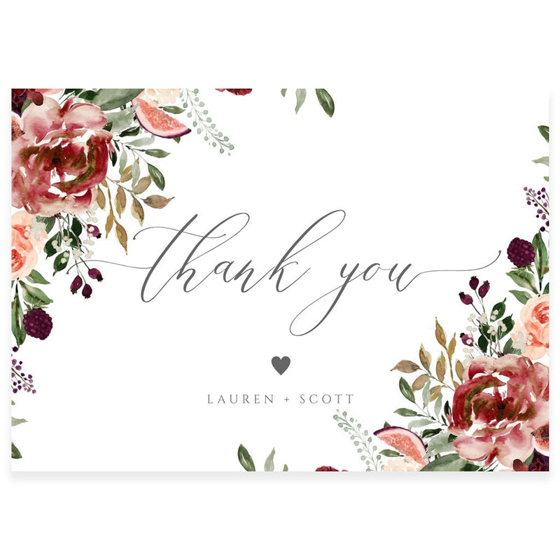 Fall Florals Thank You Card | www.foreveryourprints.com