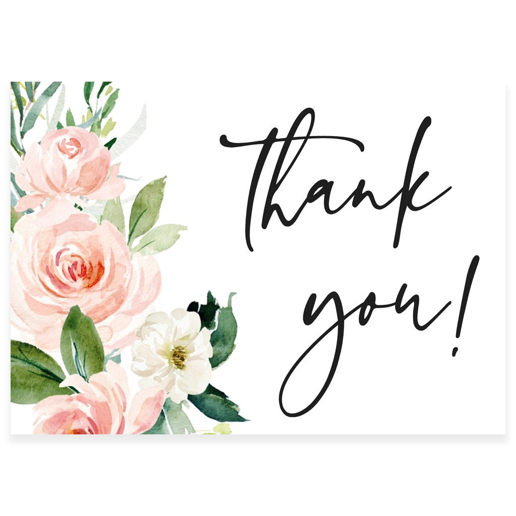 floral thank you card  forever your prints