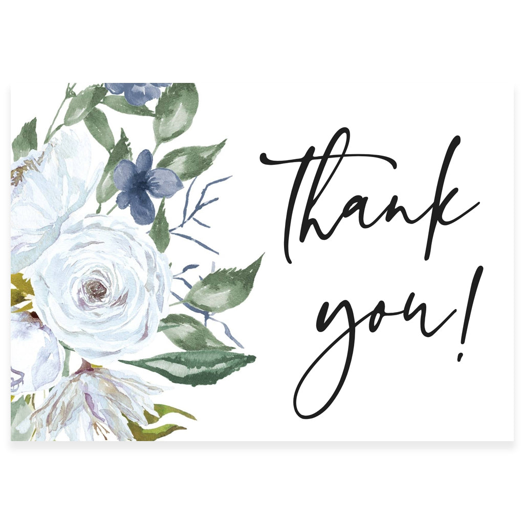 Blue Florals Thank You Card