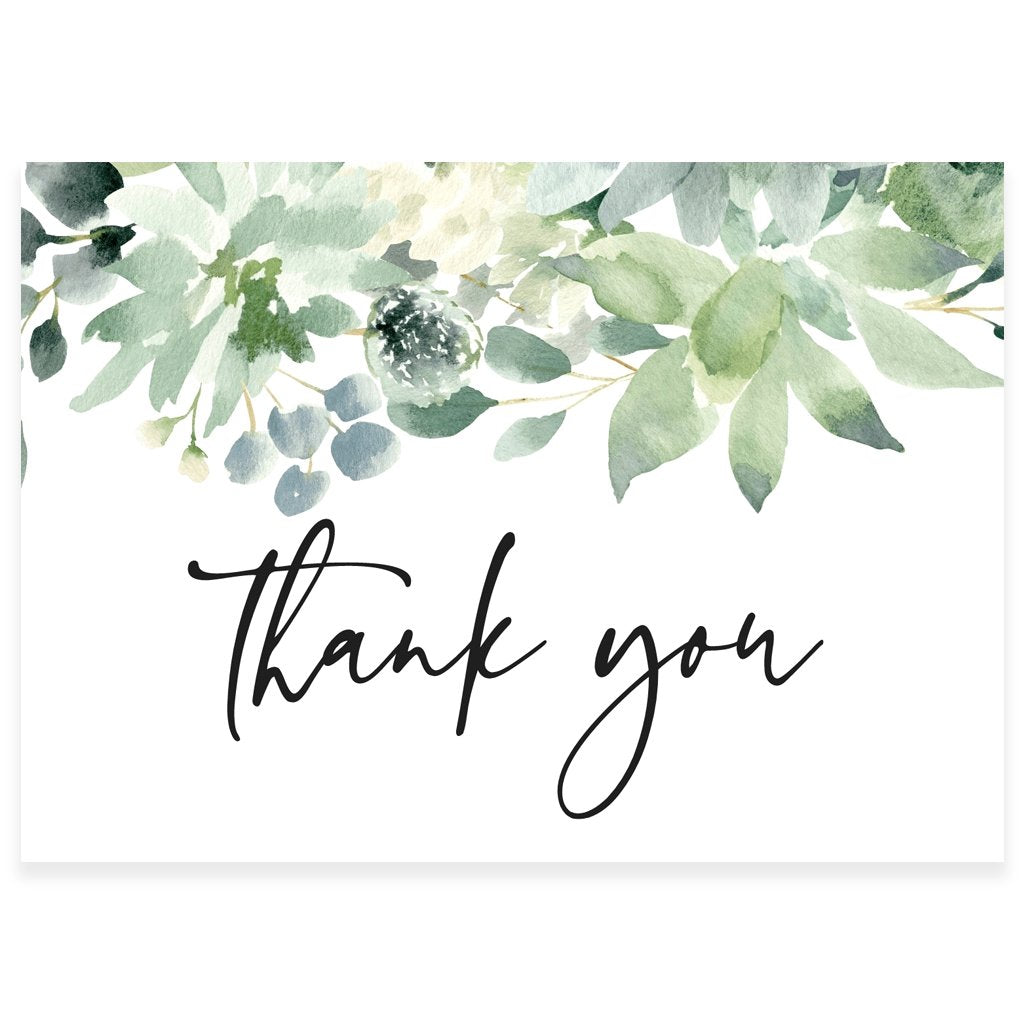 Botanical Greenery Thank You Card | www.foreveryourprints.com