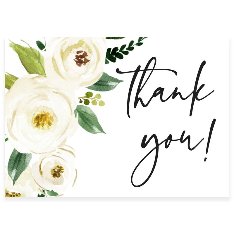 Floral Greenery Thank You Card | www.foreveryourprints.com