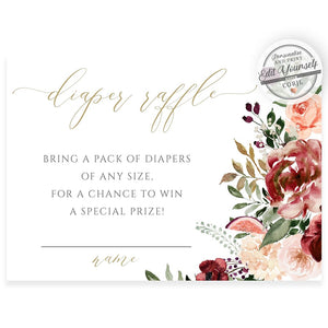 Burgundy Floral Diaper Raffle Card | www.foreveryourprints.com