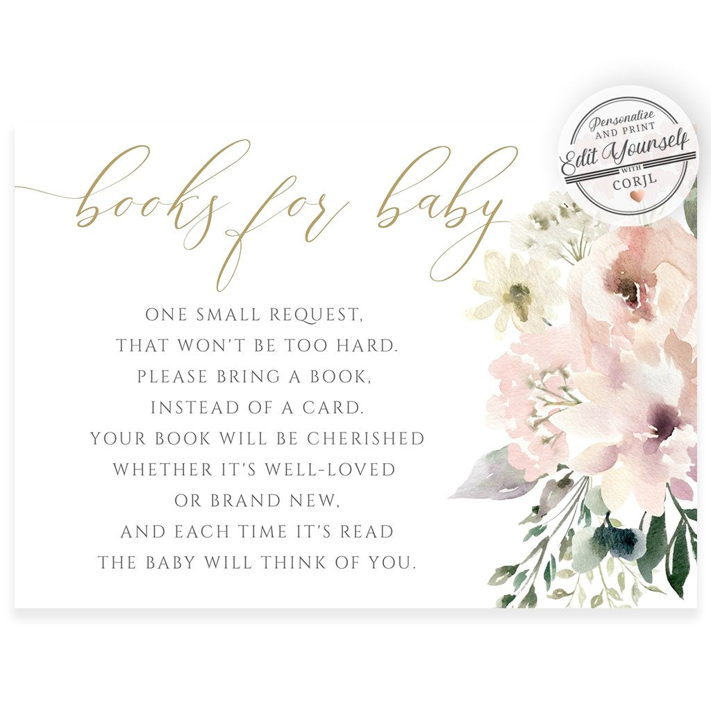 Floral Book Request Card | www.foreveryourprints.com