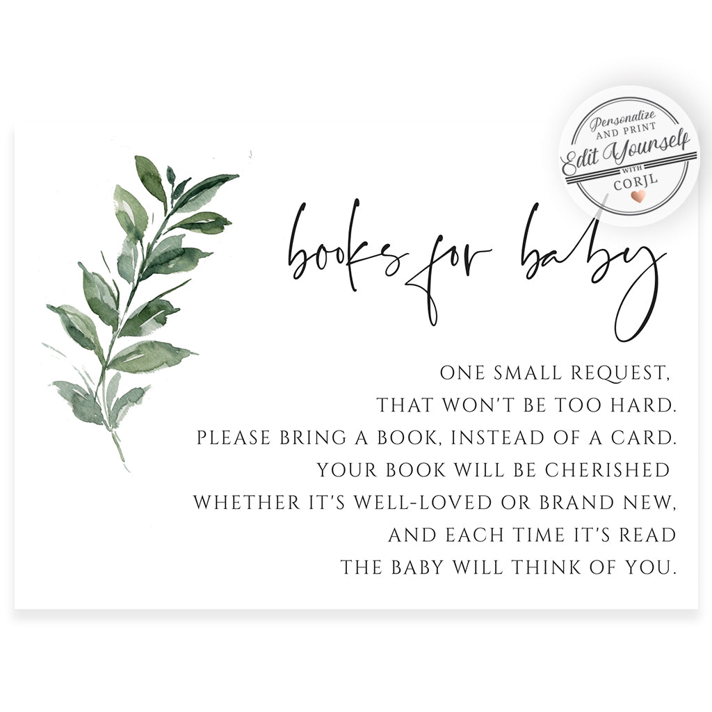 Greenery Book Request Card | www.foreveryourprints.com
