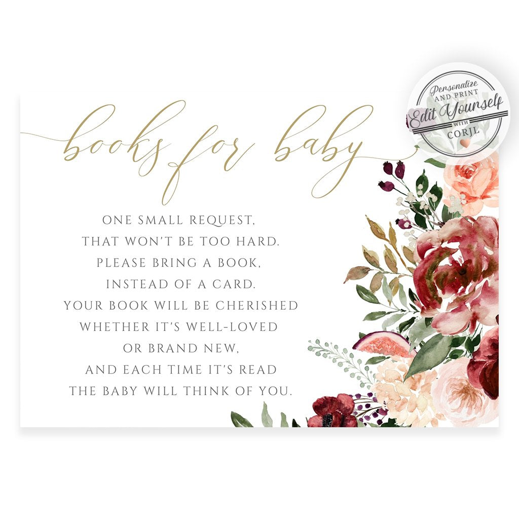 Fall Floral Book Request Card | www.foreveryourprints.com