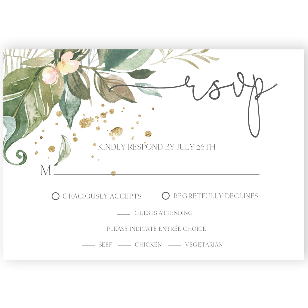 Greenery RSVP Reply Card | www.foreveryourprints.com