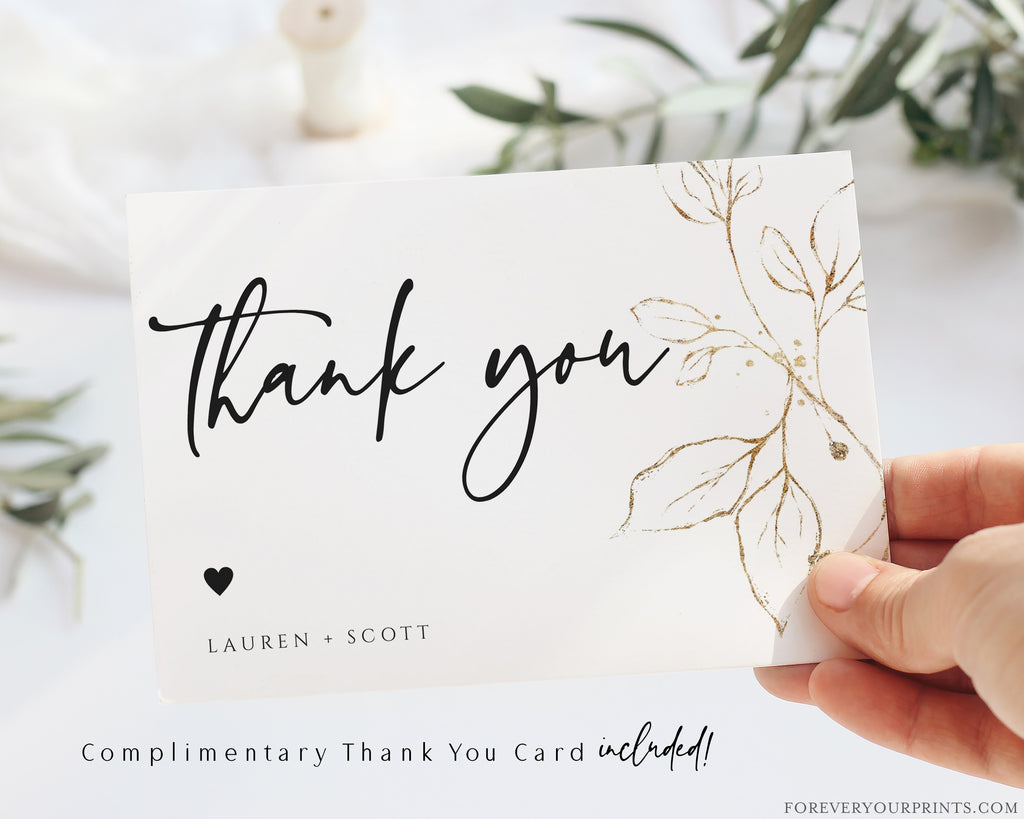 Gold Florals Thank You Card | www.foreveryourprints.com