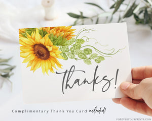 Complimentary Sunflower Thank You Card | www.foreveryourprints.com
