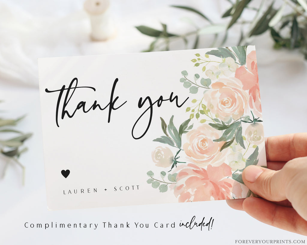 Complimentary Floral Thank You Card | www.foreveryourprints.com