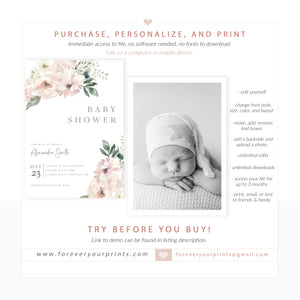 Muted Floral Baby Shower Invitation | www.foreveryourprints.com