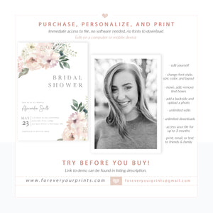 Muted Florals Bridal Shower Invitation | www.foreveryourprints.com