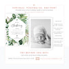 Greenery Christening Invitation | www.foreveryourprints.com