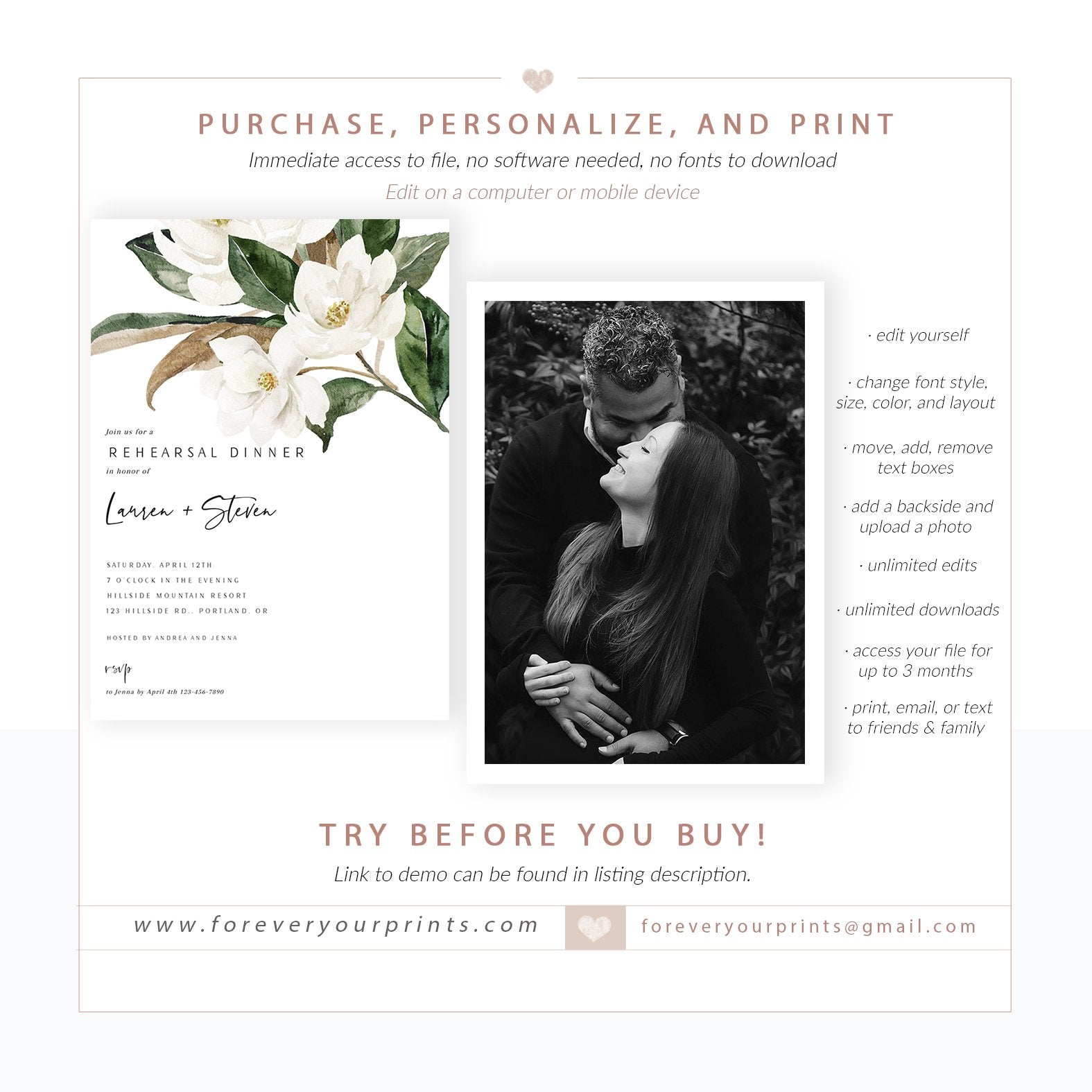 Cocktail Party Southern Engagement Bridal Brunch New Orleans Rehearsal Dinner. Printed Magnolia Flower Invitations Couples Shower