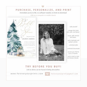 Christmas Bridal Shower Invitation | www.foreveryourprints.com