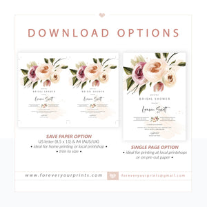 Floral Splash Bridal Shower Invitation | www.foreveryourprints.com