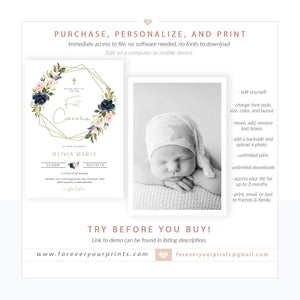 Floral First Communion Invitation | www.foreveryourprints.com