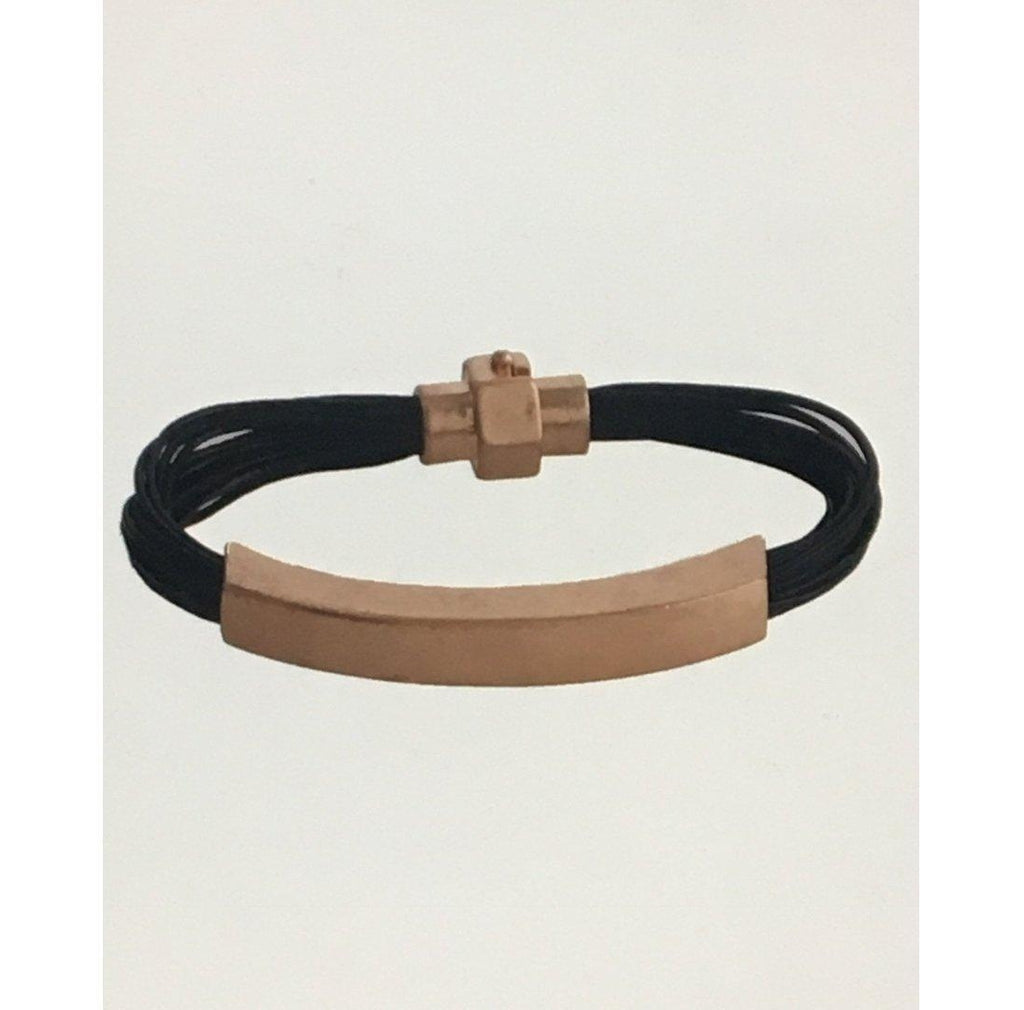 Metal Bar Fashion Bracelet-Leather Bracelet-Camden Creek Boutique