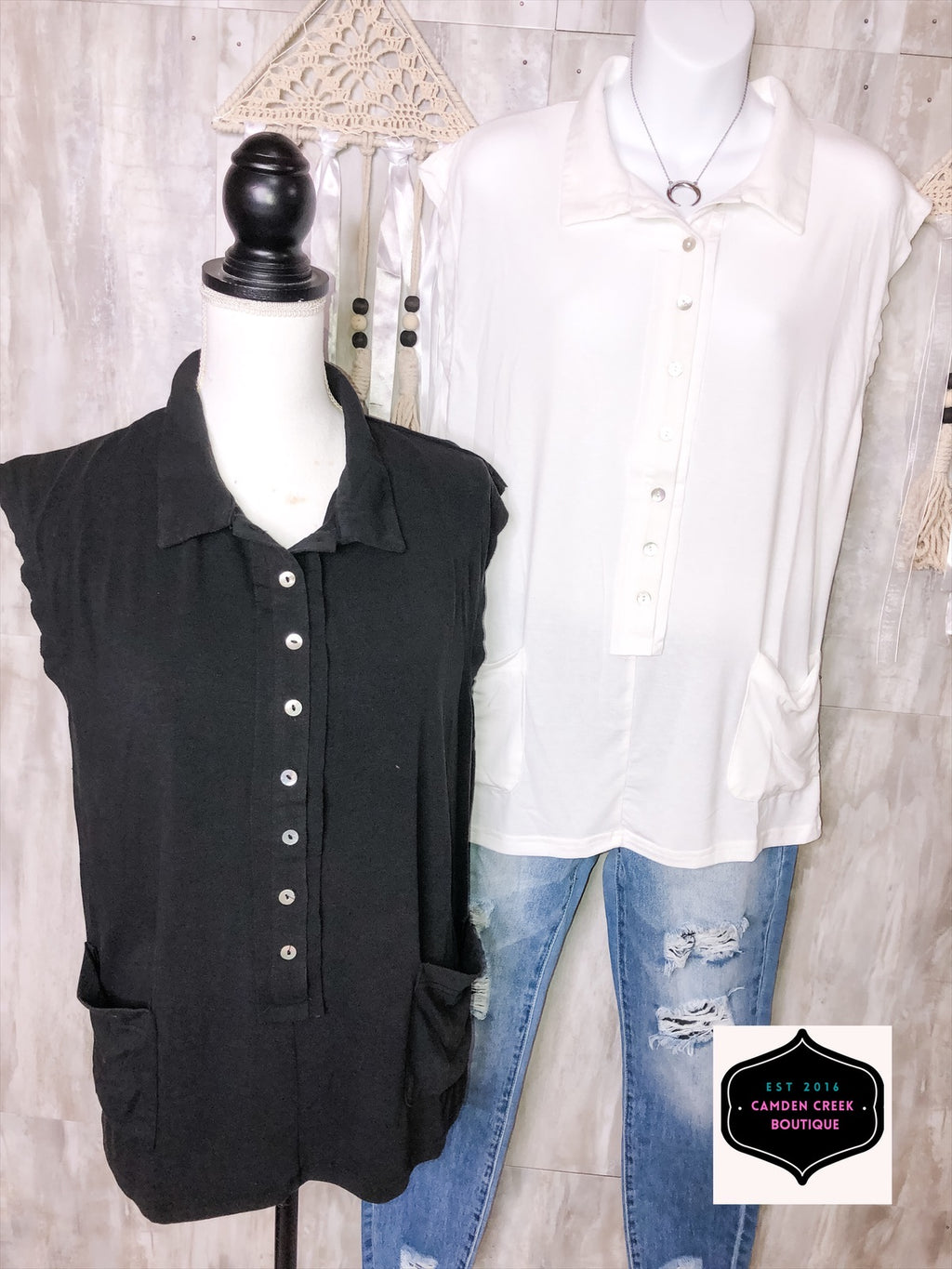Sleeveless Button Up Front Pocket Collar Top-Black or White