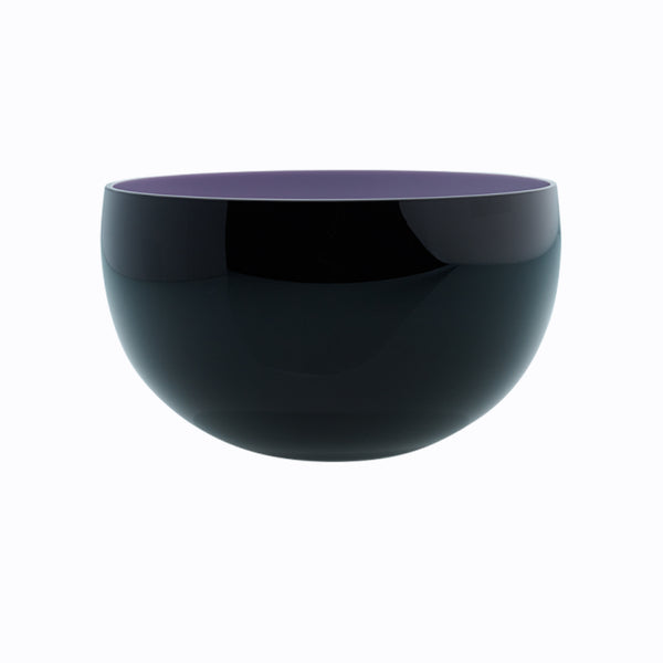 large round black bowl - coloured interior