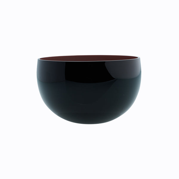 medium round black bowl - coloured interior