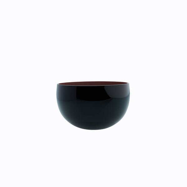 small round black bowl - coloured interior