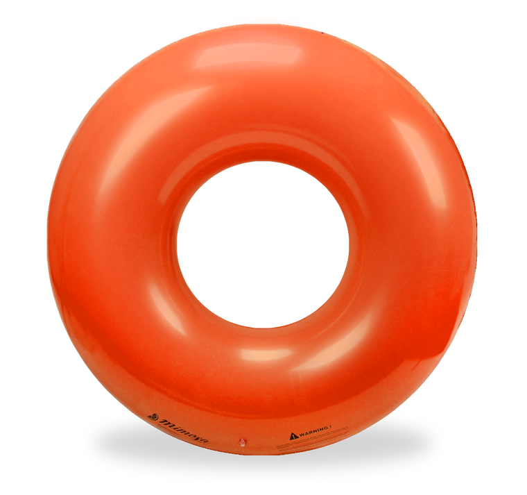 Orange round tube pool float by Mimosa Inc