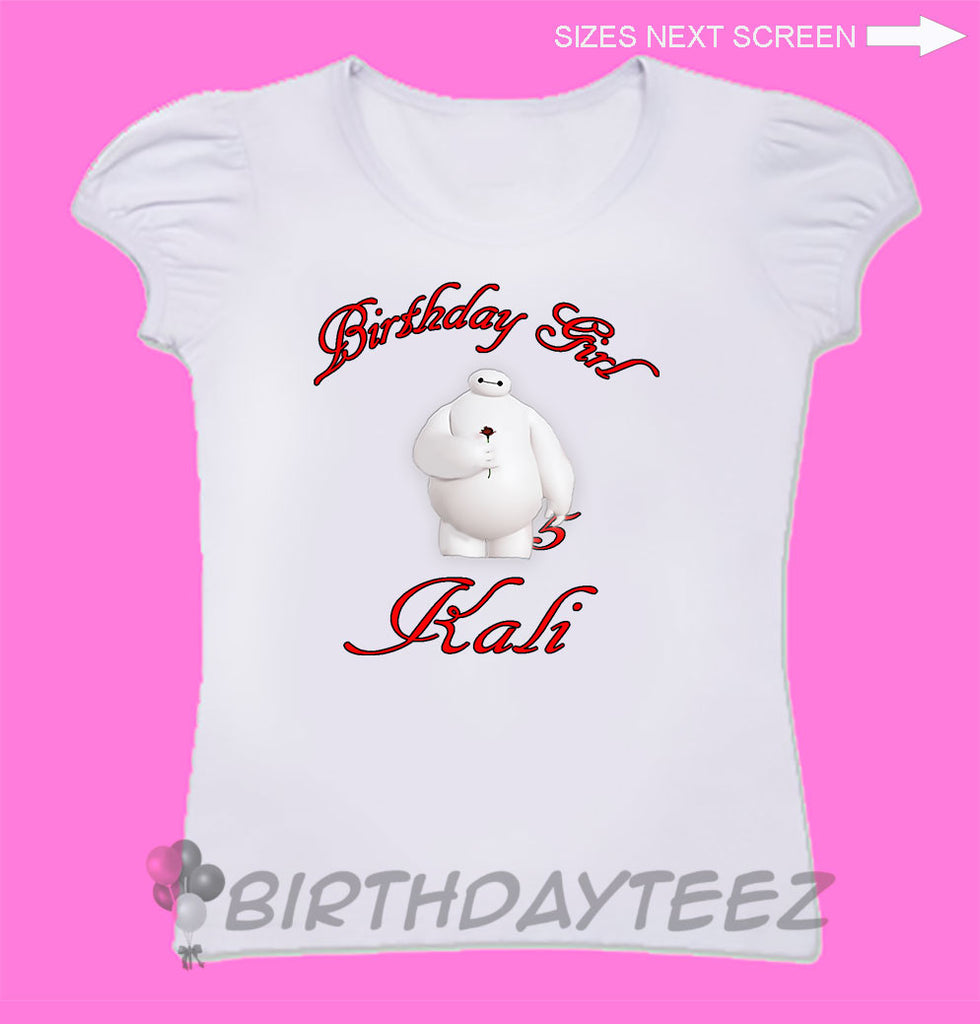 Girl's Big Hero Six and Baymax Birthday Shirt-www.bybirthdayteez.com