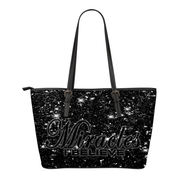 Miracles I believe stars small leather tote