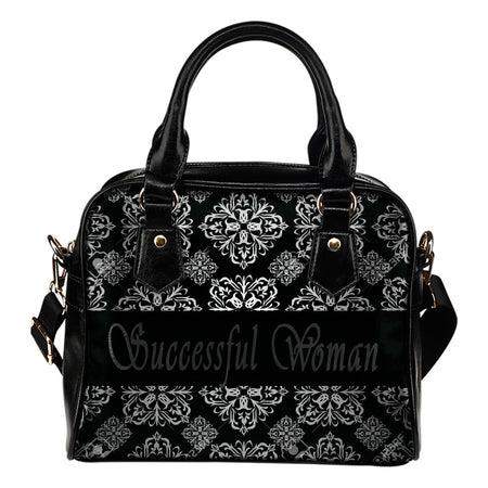 Successful woman black and grey shoulder handbag